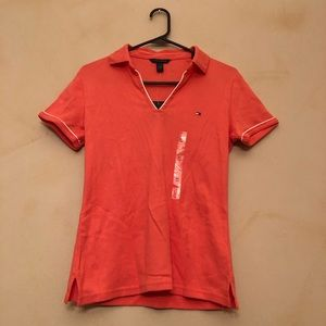 Coral V-neck Tommy Hilfiger Polo top